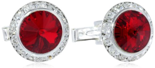 Stacy Adams Men's Silver Crystal Rondell Cuff Link, Ruby, One Size