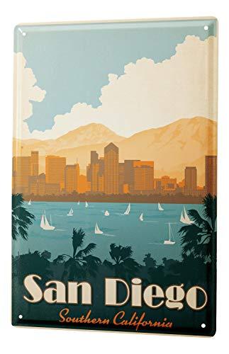 Tin Sign Deco City San Diego Southern California Palm Trees Sailboats Skyline 8X12