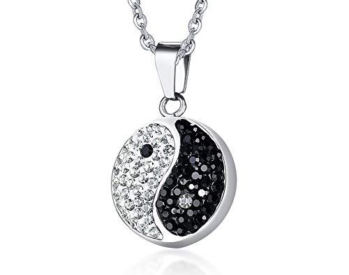 VNOX Chinese Philosophy Taoist Symbol Yin-Yang Taichi Yoga Stainless Steel Rhinestone Crystal Necklace