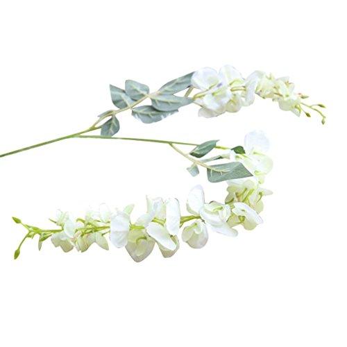 Sinwo Artificial Silk Wisteria Fake Flower Artificial Wisteria Garden Hanging Flower Plant Vine Wedding Decor (White) ()