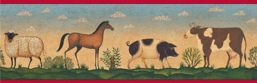- Brewster 250B69201 Borders and More Farm Field Animals Wall Border, 6.875-Inch by 180-Inch