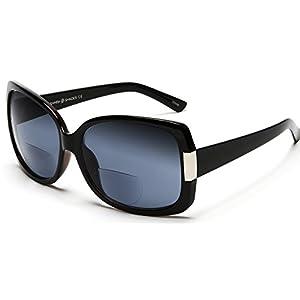 Women's BiFocal Sun Readers Fashion Sunglasses - Jackie O French Riviera SunReaders Style in Black +3.00
