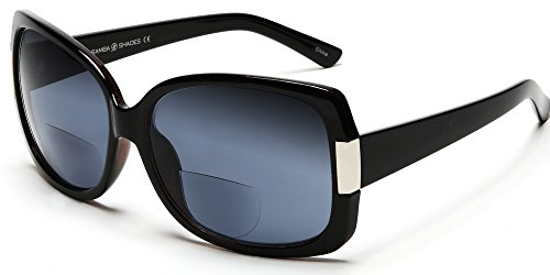 Women's BiFocal Sun Readers Fashion Sunglasses - Jackie O French Riviera SunReaders Style in Black +2.25
