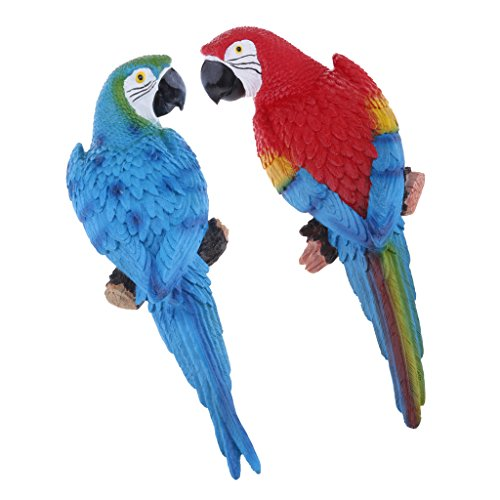 Fityle 2x Resin Parrot Animal Lawn Figurine 31cm Blue Look Right & Red Look Left Landscape Ornament Patio Yard Decor Wedding Decoration Outdoor Kids Toys