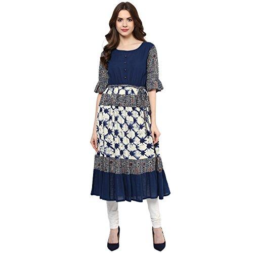 Indian Virasat Womens Printed Anarkali Kurti Tunic With Calf Length Medium Blue by Indian Virasat (Image #5)
