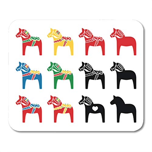- Semtomn Gaming Mouse Pad Red Folk Swedish Dalecarlian Dala Horse Blue Dalahorse Sweden 9.5