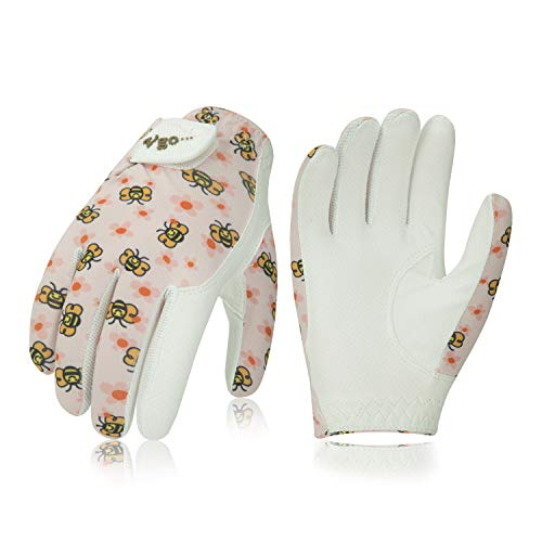 (Vgo... Kids Leather Golf Glove (1 Pair, White, Age 3-5, 6-8) (Pink Pattern, Kid-M(Pink)))