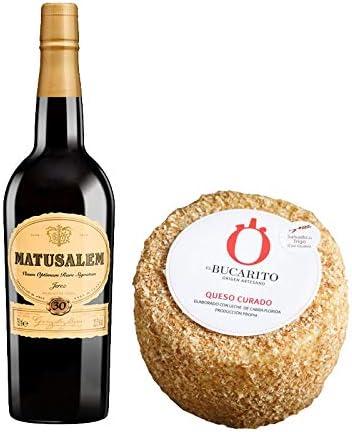 Pack de Vino Oloroso Dulce Matusalem y Queso Curado Emborrado Pasteurizado - Vino de 75 cl y Queso de 850 g aprox - Mezclanza