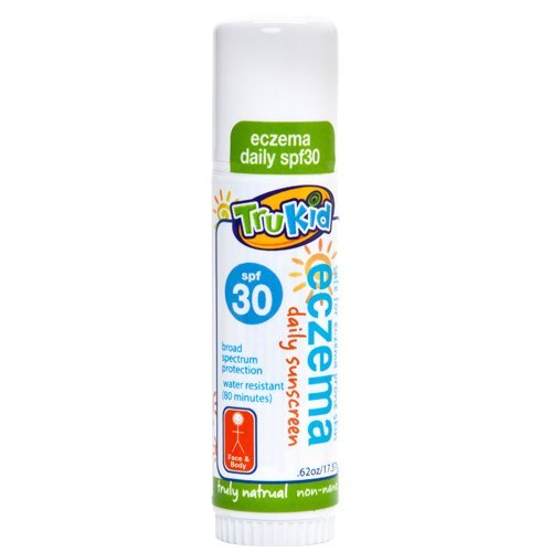 TruKid Eczema Daily, Mineral Sunscreen SPF 30 Face and Body Stick, Broad Spectrum, Sweat Resistant, Unscented, .62 Oz
