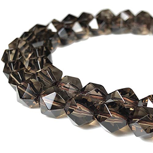 [ABCgems] Rare Brazilian Smoky Quartz (Beautiful Translucent- Grade AA) 8mm Precision-Star-Cut Beads for Beading & Jewlery Making