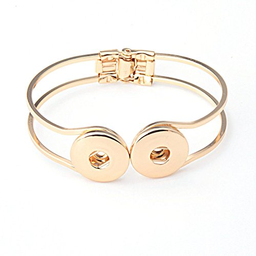 Golden Chunk Punk Metal Bangle Bracelets Drill fit for Noosa Snaps Charm Button