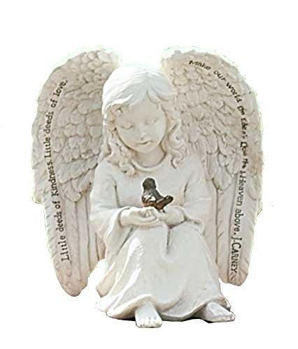(Little Cherub Angel and Robin 6 x 6 inch Resin Stone Garden Statue Figurine)