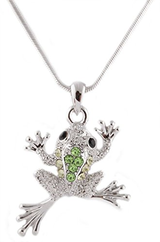 - Silvertone with Green Iced Out Frog Pendant with an 18 Inch Snake Franco Chain Necklace (B-744)