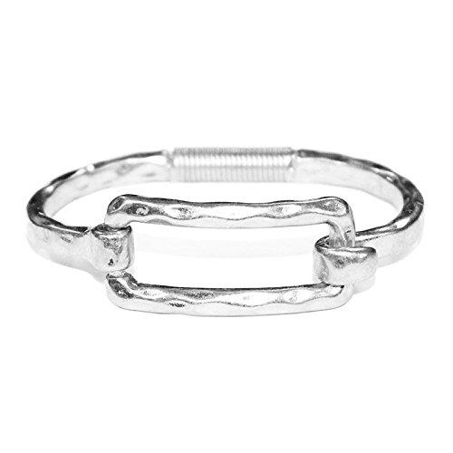POMINA Geometric Shape Tension Bangle Hammered Metal Bracelets (Square Silver)