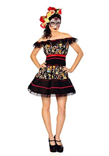 Fiesta of the Dead Costume Fancy Dress Womens Mexican Day Of The Dead S M L XL (Mexican Fancy Dress Costume)