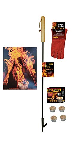 EXCURSIONS Journey To Health Fire Pit Poker Set - Fireplace Poker, Gloves and Firestarter Tool Gift Set by EXCURSIONS Journey To Health