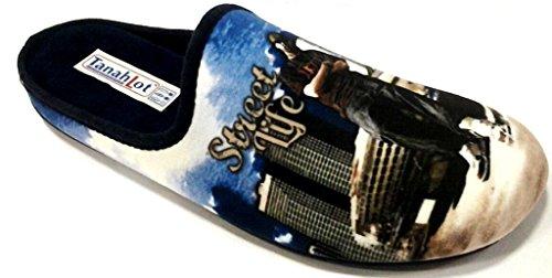 TanahLot - Zapatillas de estar por casa de tela para hombre azul turquesa 46