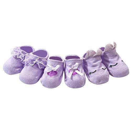Tantisy ♣↭♣ Infant 3PC Socks Set Baby Girls Lace Floral Anti-Slip Socks Newborn Baby Terry Socks Organic Cotton Socks ()