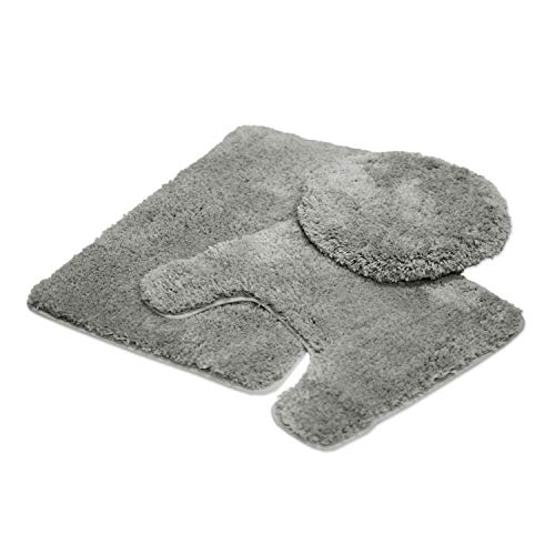 Back Toilet - Mary 3 Piece Bathroom Rug Set, Luxury Soft Plush Shaggy Thick Fluffy Microfiber Bath Mat, Countour Rug, Toilet Seat Lid Cover, Non-Slip Rubber Back, Floor Mats Water Absorbent (Grey)