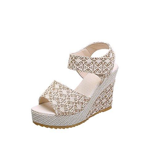 fereshte Women's Summer Shoes Wedge Heel Platform Lace Sandals Beige nqxNd