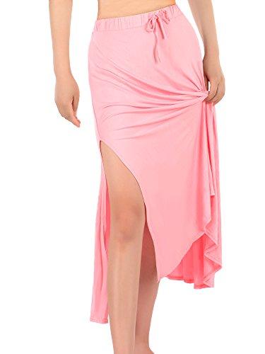 Satinior Falda Maxi de Mujer Falda de Doblar Falda Larga de Campana Falda Cómoda de Longitud hasta Suelo Falda de Abertura Lateral Rosa Desnudo