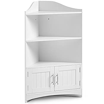VonHaus Bathroom Corner Shelves Storage Cabinet Unit with 2 Doors and Chrome Handles - Classic White Floor Standing Furniture (Includes All Hardware)