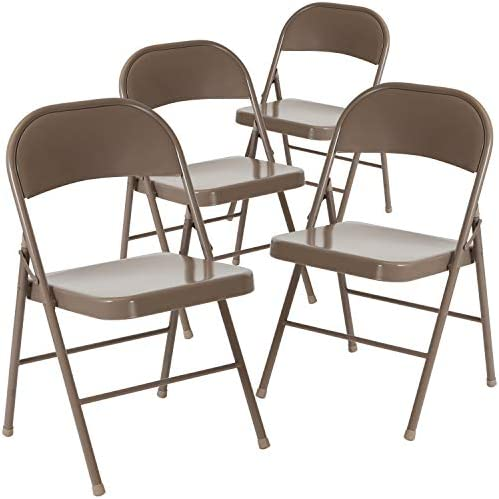 Flash Furniture 4 Pk. HERCULES Series Double Braced Beige Metal Folding Chair