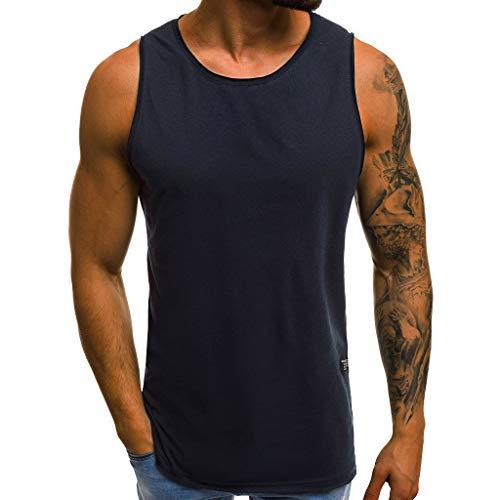 BHYDRY Camiseta Hombre Personalidad de la Moda Hombre Verano Casual Camiseta Delgada sin Mangas Blusa Superior