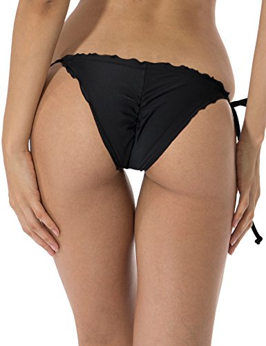 RELLECIGA Women Girl Ruffle Trim Bikini Bottom Wavy Style Teeny Swimsuit Short S Black
