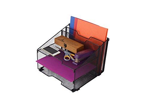 5-Compartment Metal Mesh Desktop File Sorter Desk Tray Organizer - 5 Desktop Organizer Compartments