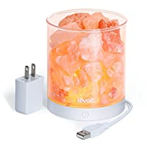 Levoit Cora Salt Lamp Himalayan Rock Natural Mini Pink Salt Rock Lamp,Touch Brightness Dimmer Control,Powered by USB/AC Adapter,3 Bulbs, Gift Box