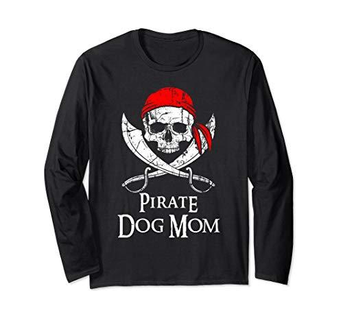 (Pirate Dog Mom Family Jolly Roger Skull Long Sleeve)