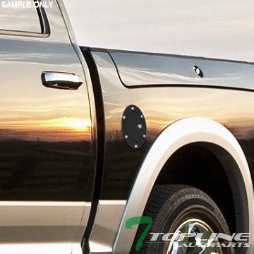 Topline Autopart Matte Black Aluminum Gas Door Cover With Lock For 09-18 Dodge Ram 1500/2500 / 3500 Non-Diesel Engine