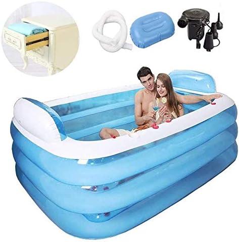 インフレータブル浴槽ポータブルブローアップ浴槽折りたたみ耐久性のある浸漬浴槽電気空気ポンプインフレータブルプール大人用、70.9 * 55.1 * 23.6インチ