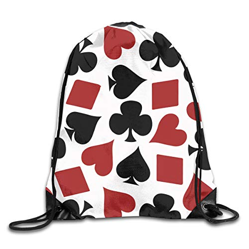 Playing Card Suit Casino PatternDrawstring Backpack Bag Sport Gym Sack For Hiking Yoga Swimming Travel Beach (Wedding Cards Personalized Favors Playing)