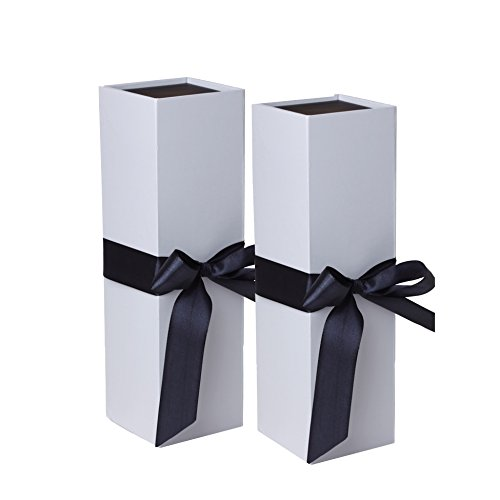 Jillson Roberts 2-Count Wine & Bottle Gift Boxes Available in 3 Colors, White Matte with Black Ribbon (Corporate Wine Gifts)
