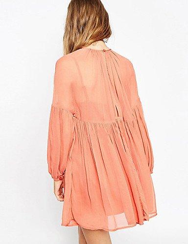 PU&PU Robe Aux femmes Ample Sexy,Couleur Pleine Col Arrondi Au dessus du genou Coton , pink-2xl , pink-2xl
