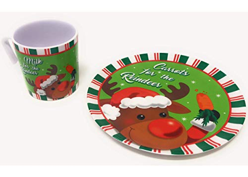 Christmas Cookies for Santa or Carrots for Reindeer Plate and Mug Set (Carrots for Reindeer)