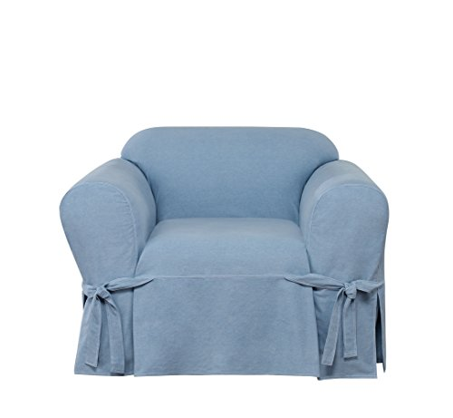 Sure Fit Authentic Denim One Piece Chair Slipcover - - Chair Chambray