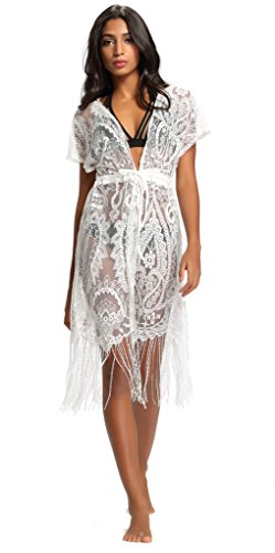 Abary Beach Lace Floral Dress Plus Size Beachwear Swimwear Bikini Cover Up Tassel White XL