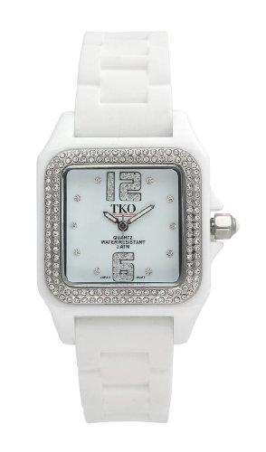TKO ORLOGI Women's TK514-WT Riviera Swarovski Crystal Accented Ice White Rubber Strap Watch (Watch Plastic Crystal)