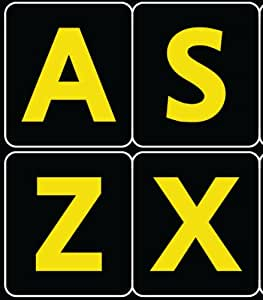 ENGLISH US LARGE LETTERS BLACK-YELLOW KEYBOARD STICKERS EXELLENT FOR LOW VISION CONTRAST COLORS