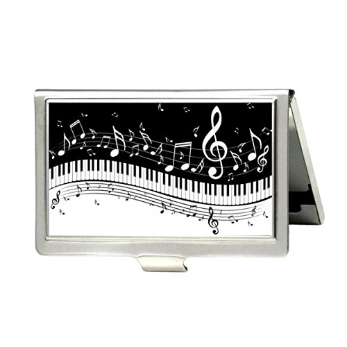 Piano Keys With Musical Notes Business Credit Card Holder Case