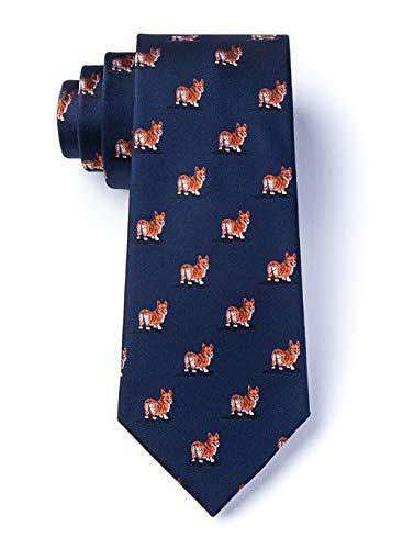 - Men's Welsh Corgi Dog Lover Animal Novelty Skinny Narrow Necktie Tie (Navy Blue)