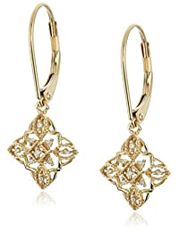 10k Yellow Gold Diamond Lever Back Floral Design Earringss (1/20 cttw, I-J Color, I2-I3 Clarity)