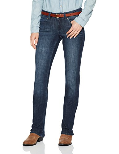 Wrangler Women's Premium Patch Mae Straight Leg Jean-Sits Above Hip, Dark Stone, 5x34 (Patch Womens Premium)