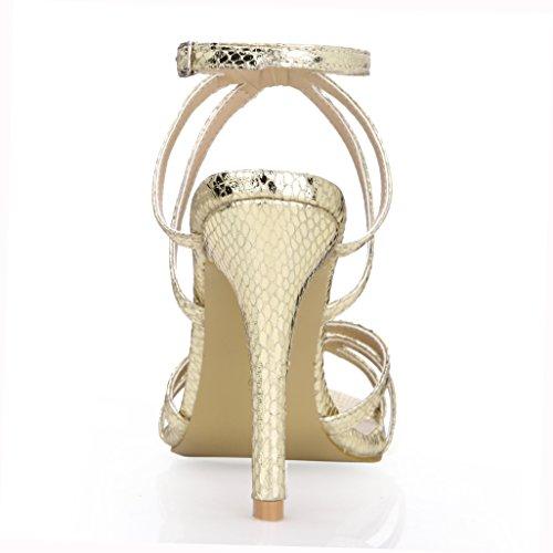 Dolphinbanana Womens Eenvoudige Casual Hakken Sandaal Pumps Prime Schoenen Gouden