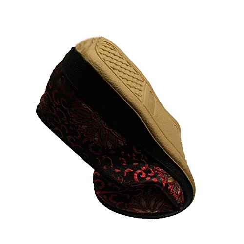 Odomolor Women's Fabric Round-Toe Low-Heels Embroidered Pumps-Shoes Red MgpYA6P