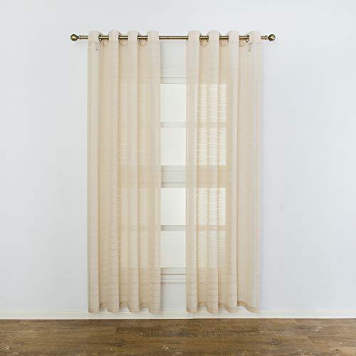 (Aquazolax Semi Sheer Curtains Linen Window Voile Panels Premium Striped Living Room Kitchen Drapery Privacy, Set of 2, 52W x 95L,)