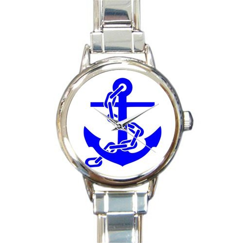 Christmas Day Gift Cool Nautical Anchor Pattern Round Italian Charm stainless steel Watch